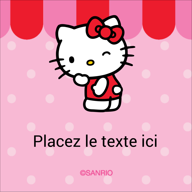 "2"" x 2"" Étiquettes carrées - Clin d'œil Hello Kitty"