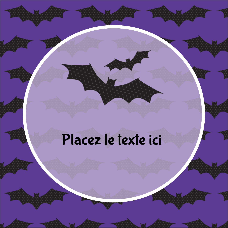 """2"""" Diameter Étiquettes rondes - Chauves-souris d'Halloween"""