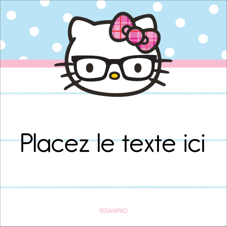 """2"""" Diameter Étiquettes rondes - Hello Kitty avec des lunettes"""