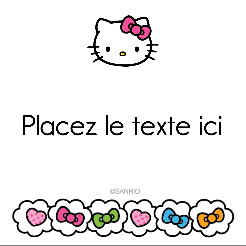 """2"""" Diameter Étiquettes rondes - Hello Kitty Cœurs et Nœuds"""