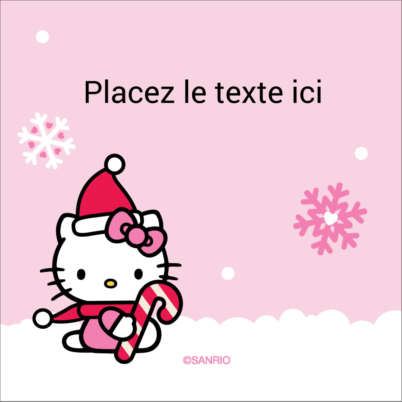 """2"""" Diameter Étiquettes rondes - Canne en bonbon de Noël Hello Kitty"""