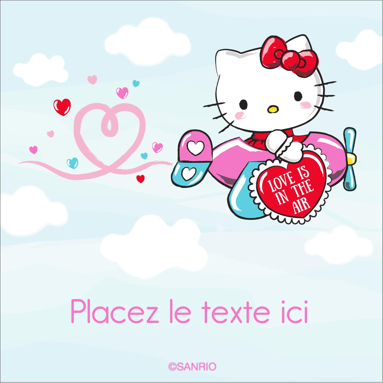 """2"""" Diameter Étiquettes rondes - Hello Kitty Saint-Valentin - Mon cœur monte pour vous"""