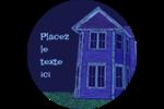 Maison hantée d'Halloween à la craie Étiquettes rondes - gabarit prédéfini. <br/>Utilisez notre logiciel Avery Design & Print Online pour personnaliser facilement la conception.