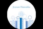 Chandelier bleu de Hanoukka  Étiquettes rondes - gabarit prédéfini. <br/>Utilisez notre logiciel Avery Design & Print Online pour personnaliser facilement la conception.