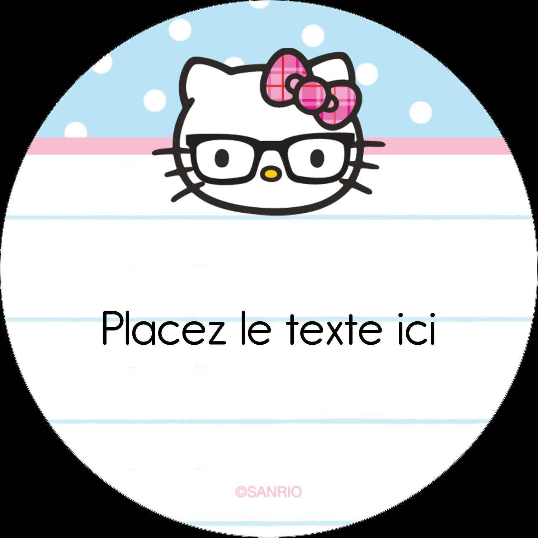 """2½"""" Diameter Étiquettes rondes - Hello Kitty avec des lunettes"""