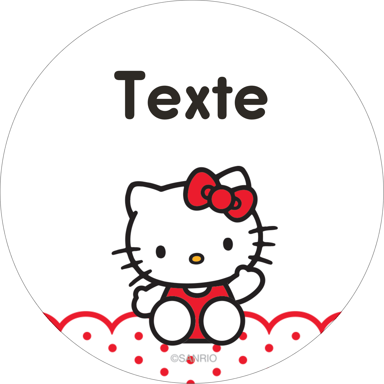 "2½"" Diameter Étiquettes rondes - Salut Hello Kitty"