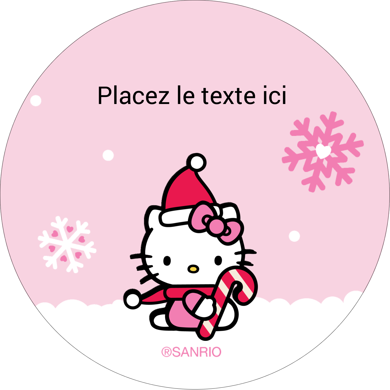 """2½"""" Diameter Étiquettes rondes - Canne en bonbon de Noël Hello Kitty"""