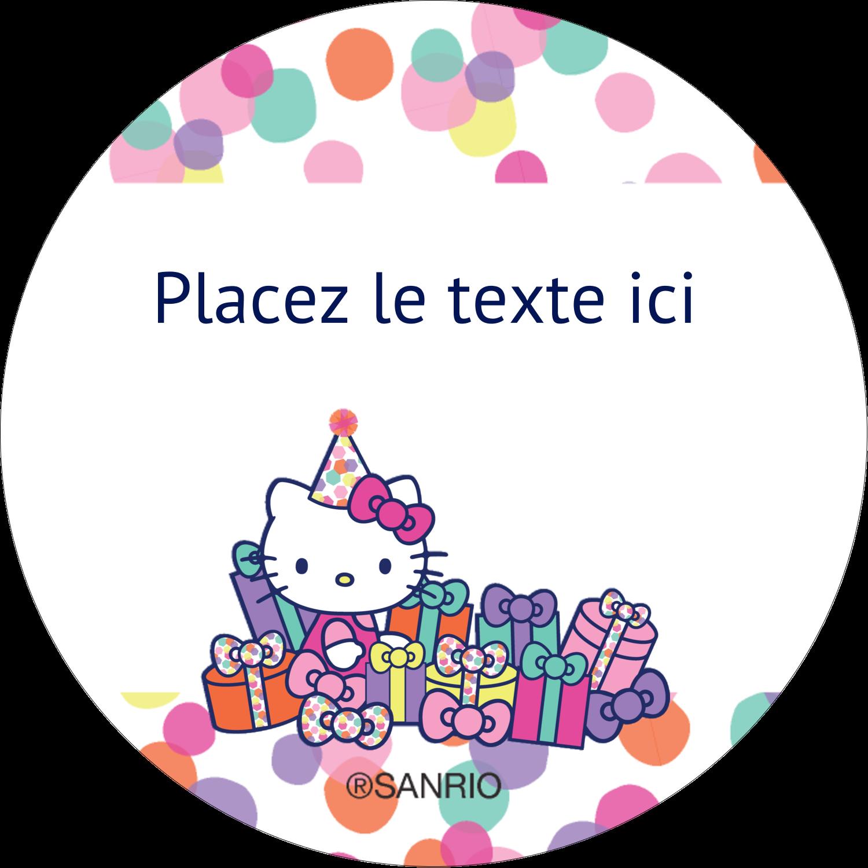 "2½"" Diameter Étiquettes rondes - Hello Kitty Anniversaire"