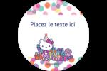 Hello Kitty Anniversaire Étiquettes rondes - gabarit prédéfini. <br/>Utilisez notre logiciel Avery Design & Print Online pour personnaliser facilement la conception.