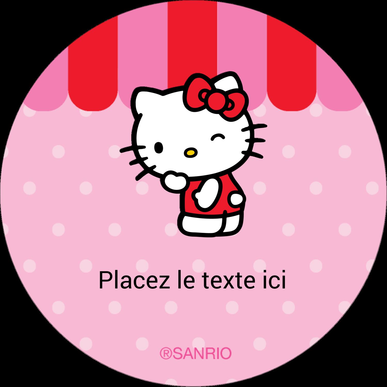 "2½"" Diameter Étiquettes rondes - Clin d'œil Hello Kitty"