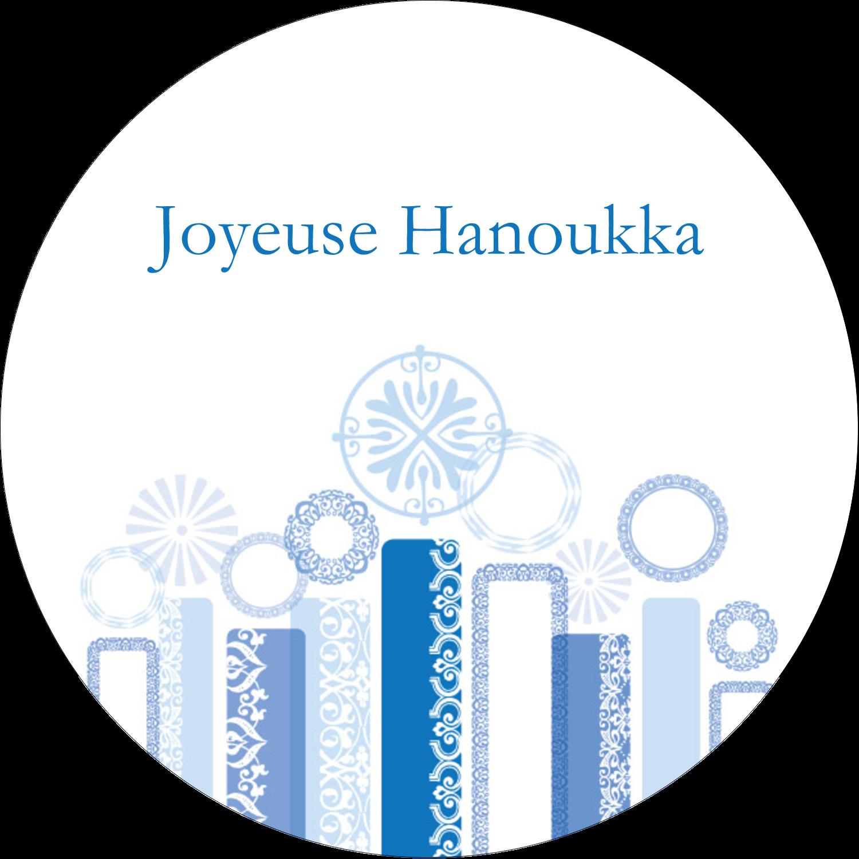 """3"""" x 2¼"""" Étiquettes arrondies - Chandelier bleu de Hanoukka"""