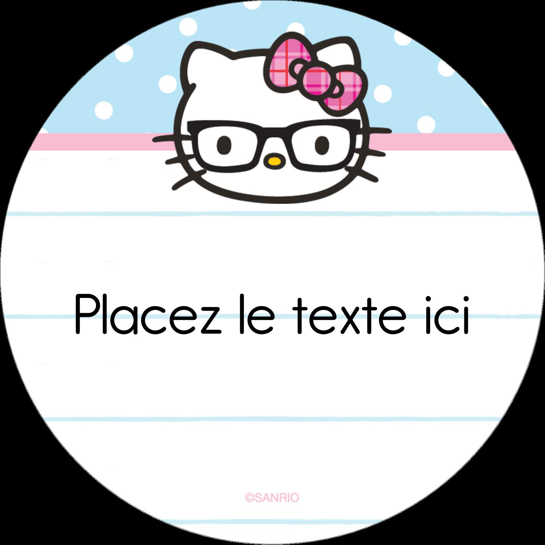 """3-7/16"""" x 15/16"""" Étiquettes de classement - Hello Kitty avec des lunettes"""