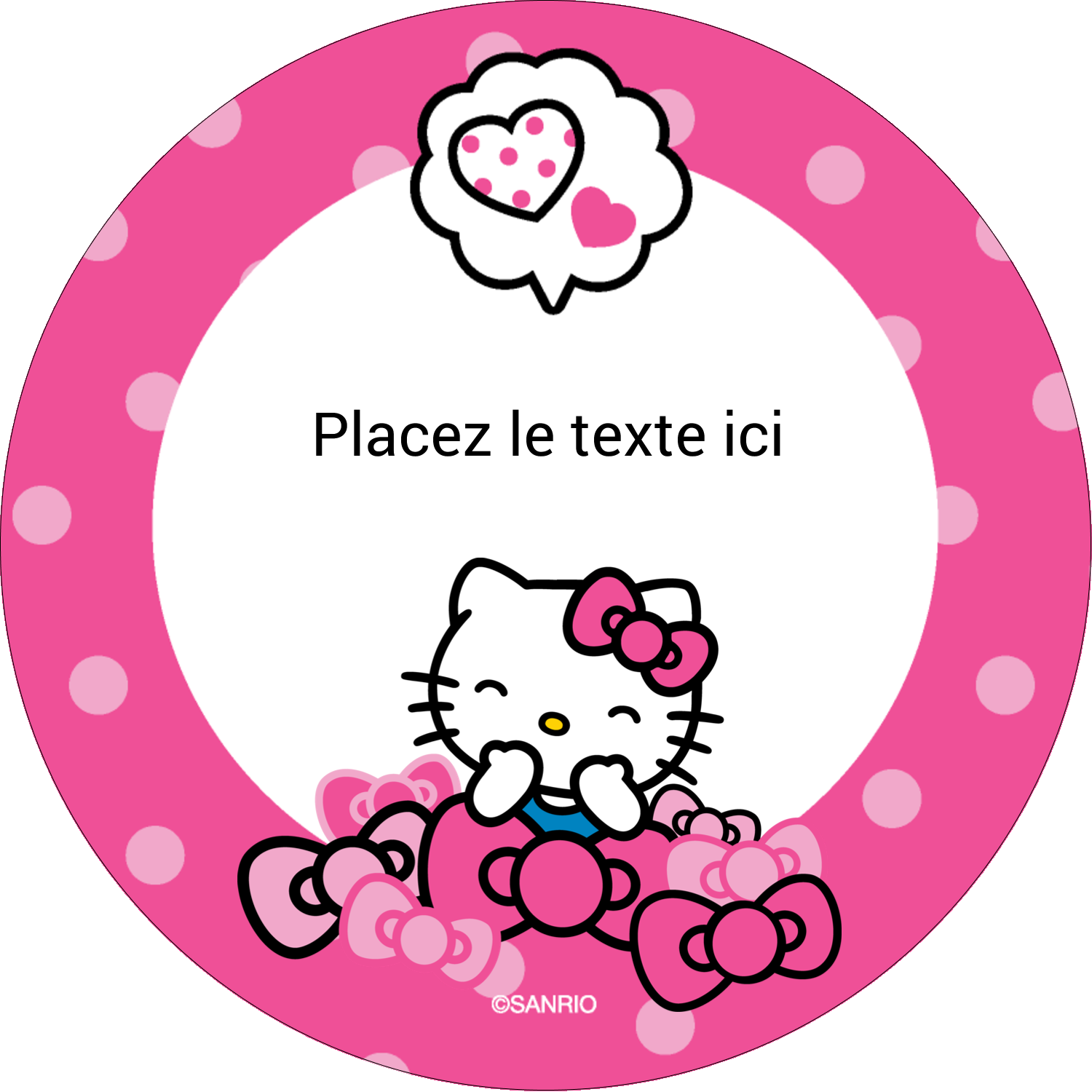 "2½"" Diameter Étiquettes rondes - Hello Kitty rigole"