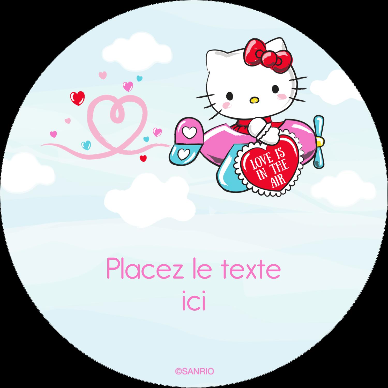 """3-7/16"""" x 15/16"""" Étiquettes de classement - Hello Kitty Saint-Valentin - Mon cœur monte pour vous"""