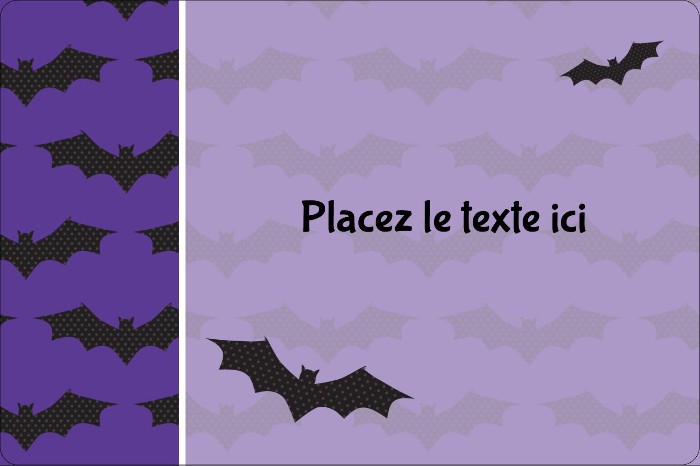 """3"""" x 3¾"""" Étiquettes rectangulaires - Chauves-souris d'Halloween"""