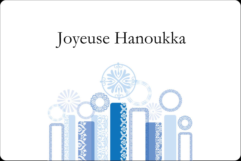 """3"""" x 3¾"""" Étiquettes rectangulaires - Chandelier bleu de Hanoukka"""