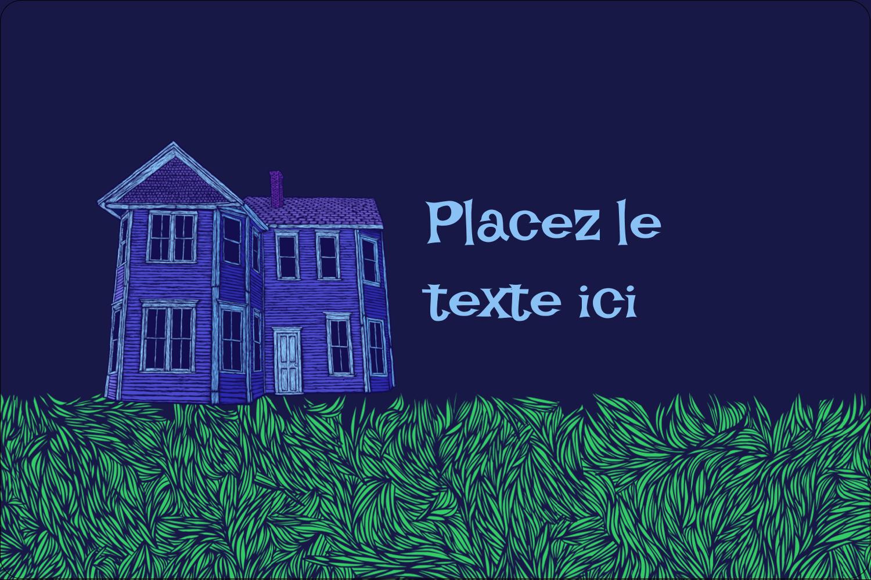 """3"""" x 3¾"""" Étiquettes rectangulaires - Maison hantée d'Halloween à la craie"""