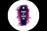 Cercueil d'Halloween Étiquettes arrondies - gabarit prédéfini. <br/>Utilisez notre logiciel Avery Design & Print Online pour personnaliser facilement la conception.