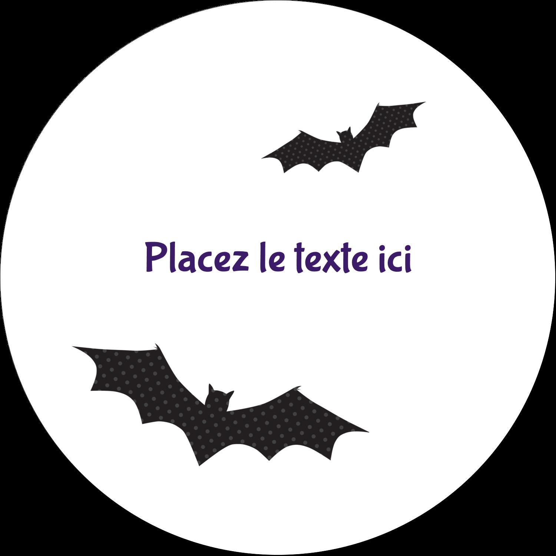 """4¾"""" x 3½"""" Étiquettes arrondies - Chauves-souris d'Halloween"""
