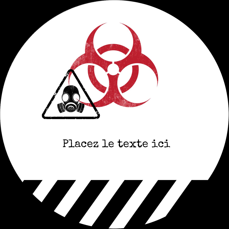"""4¾"""" x 3½"""" Étiquettes arrondies - Apocalypse zombie d'Halloween"""