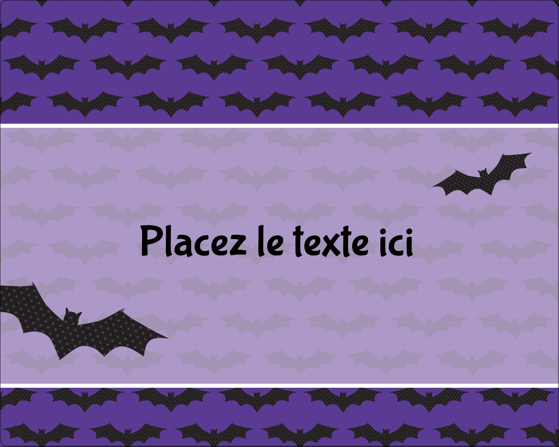 """2"""" Diameter Étiquettes rondes gaufrées - Chauves-souris d'Halloween"""