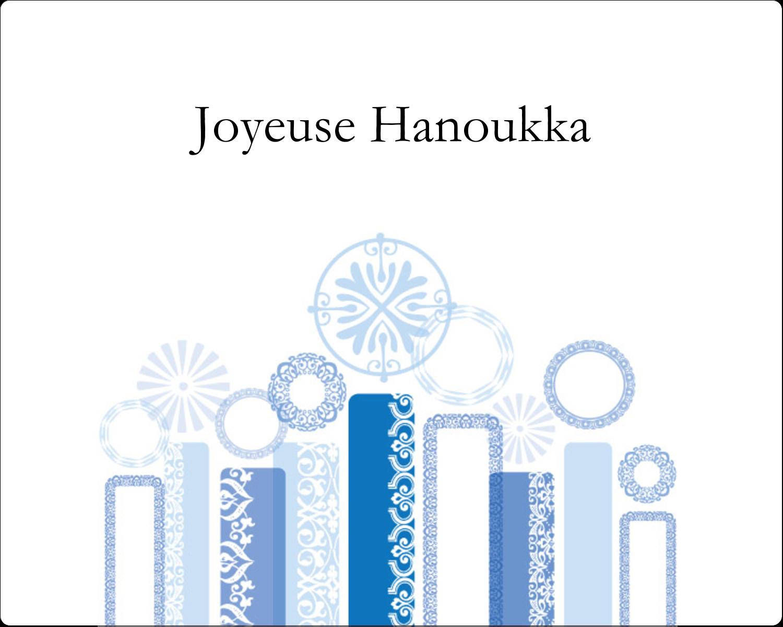 """2"""" Diameter Étiquettes rondes gaufrées - Chandelier bleu de Hanoukka"""