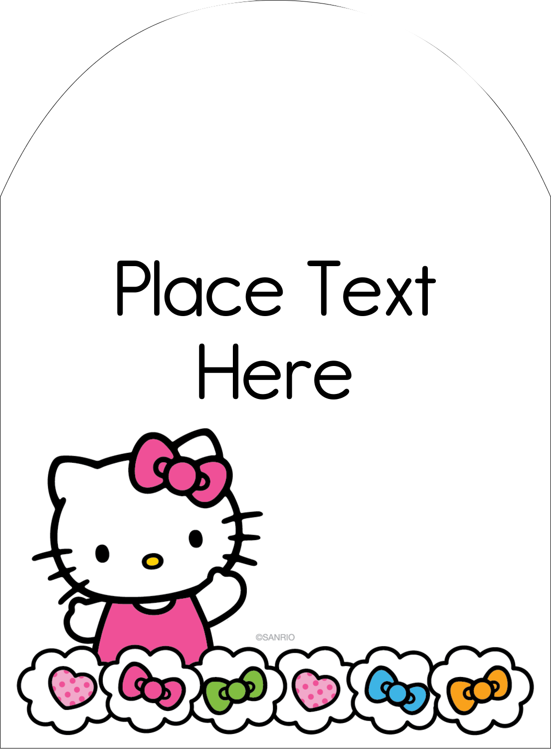 "4¾"" x 3½"" Arched Label - Hello Kitty Hearts and Bows"