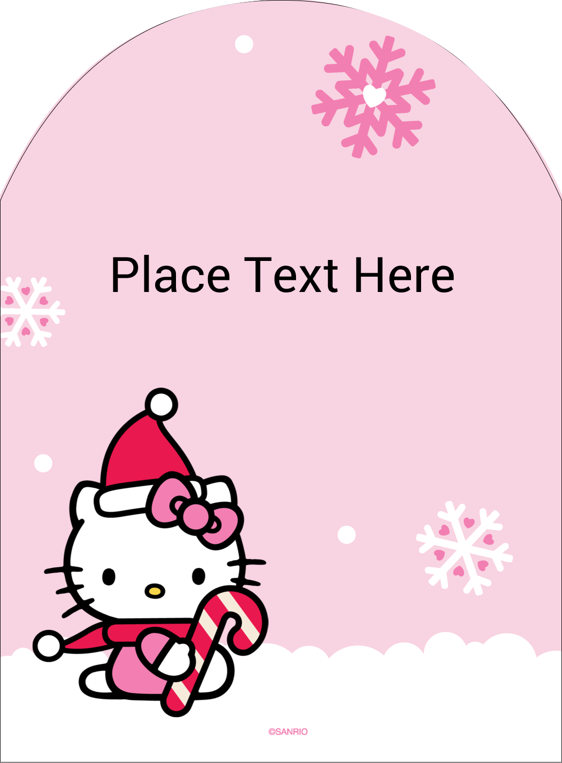 "4¾"" x 3½"" Arched Label - Hello Kitty Candy Cane Christmas"