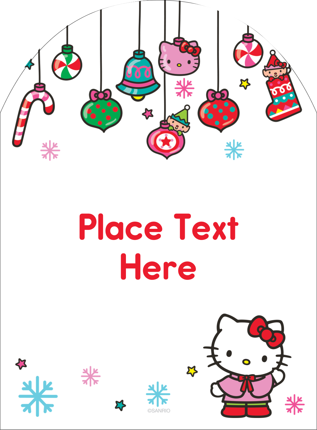 "4¾"" x 3½"" Arched Label - Hello Kitty Holiday"
