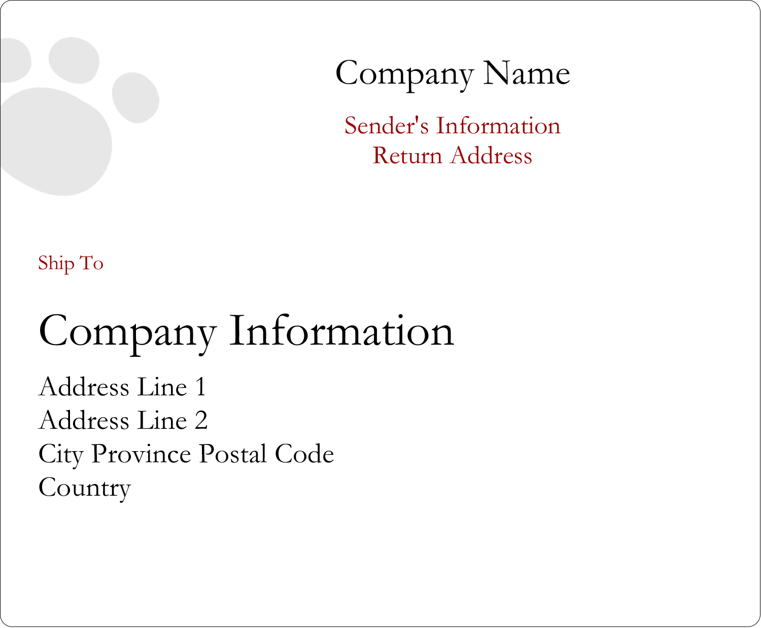 """3⅓"""" x 4"""" Shipping Label - Animals Pet Care"""