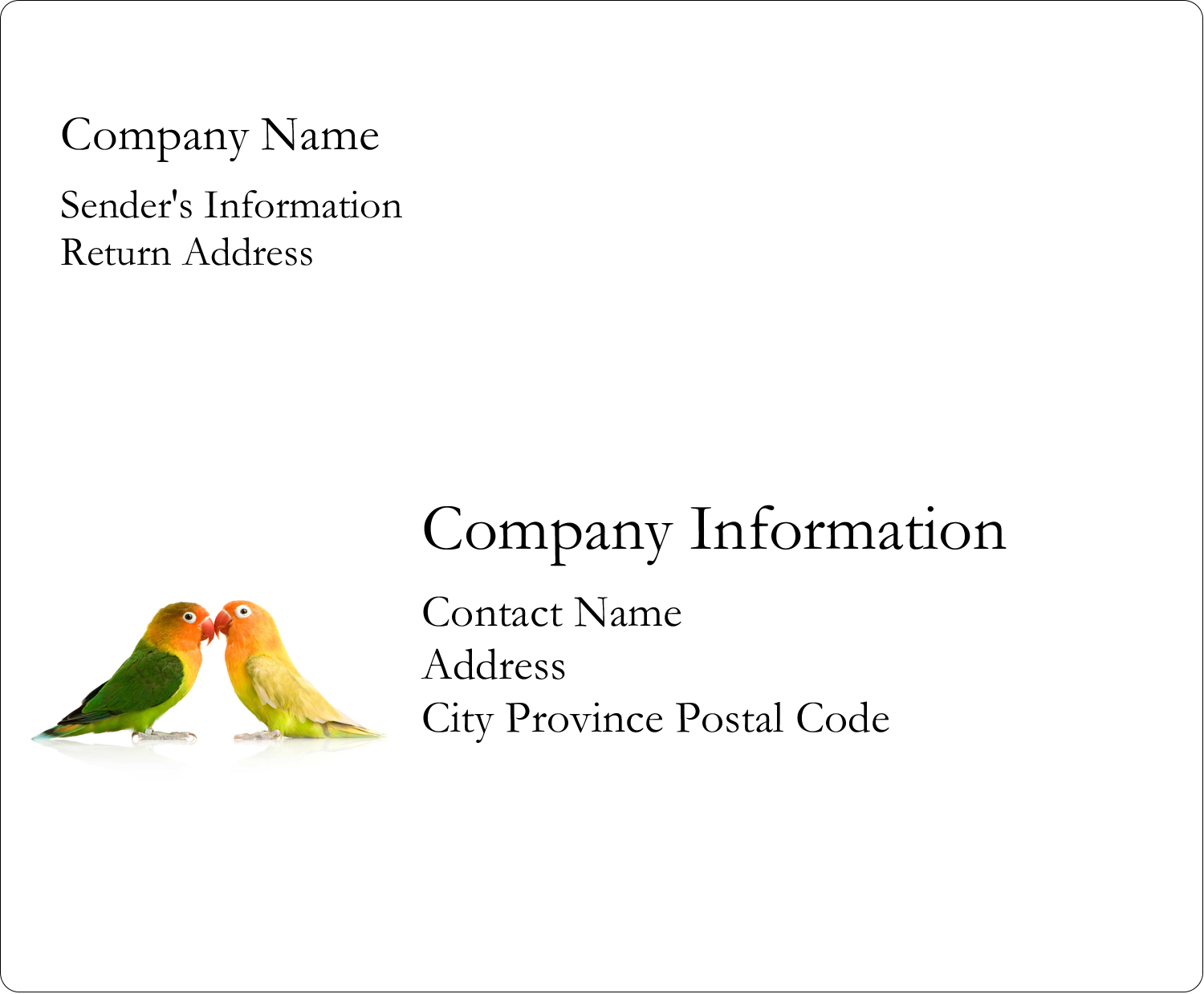"""3⅓"""" x 4"""" Shipping Label - Birds in Nature"""