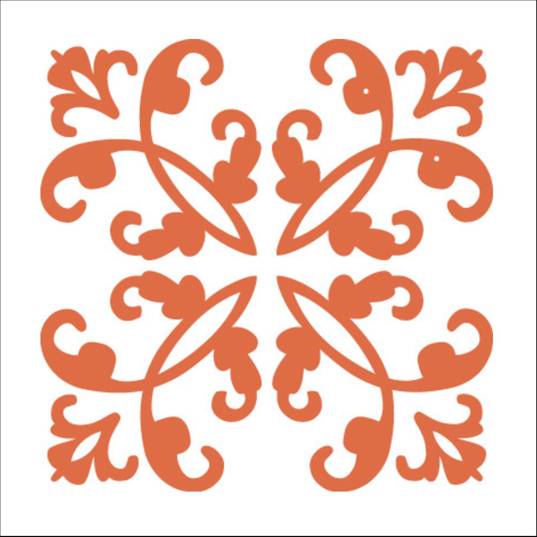 """2"""" x 2"""" Square Label - Arc Design Orange"""