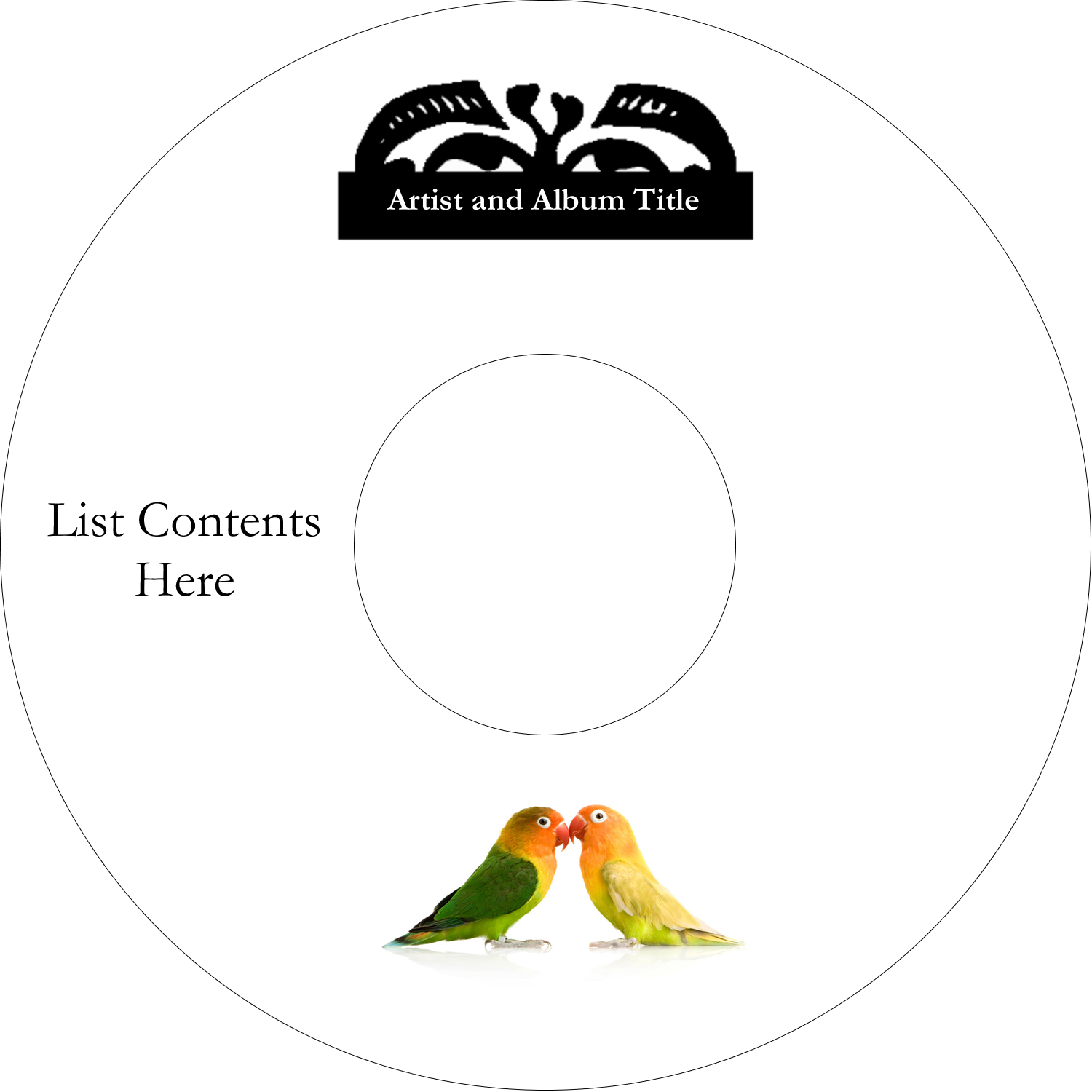 "4.65"" CD-DVD Label - Birds in Nature"