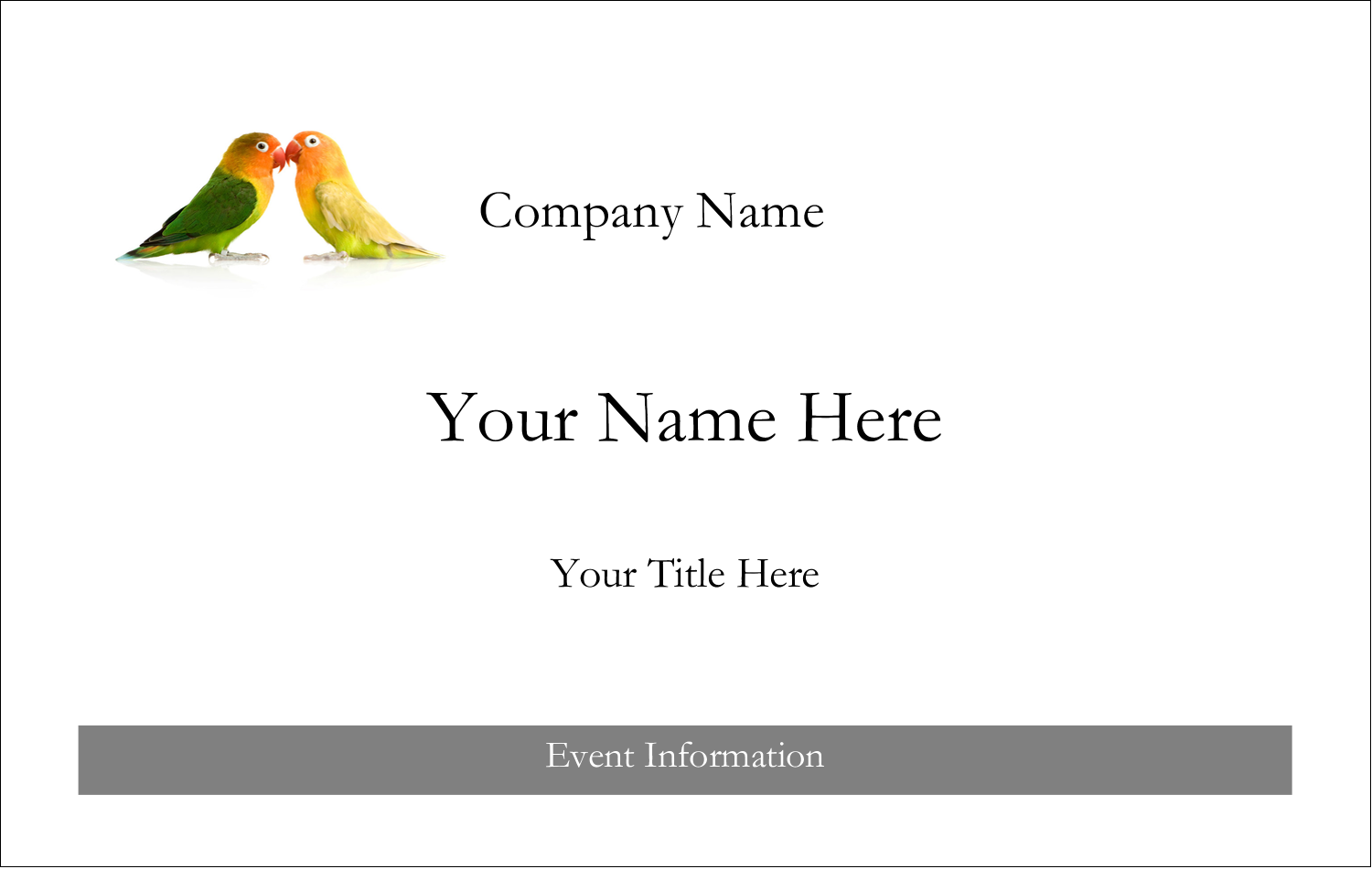 2¼ x 3½ Name Tags - Birds in Nature