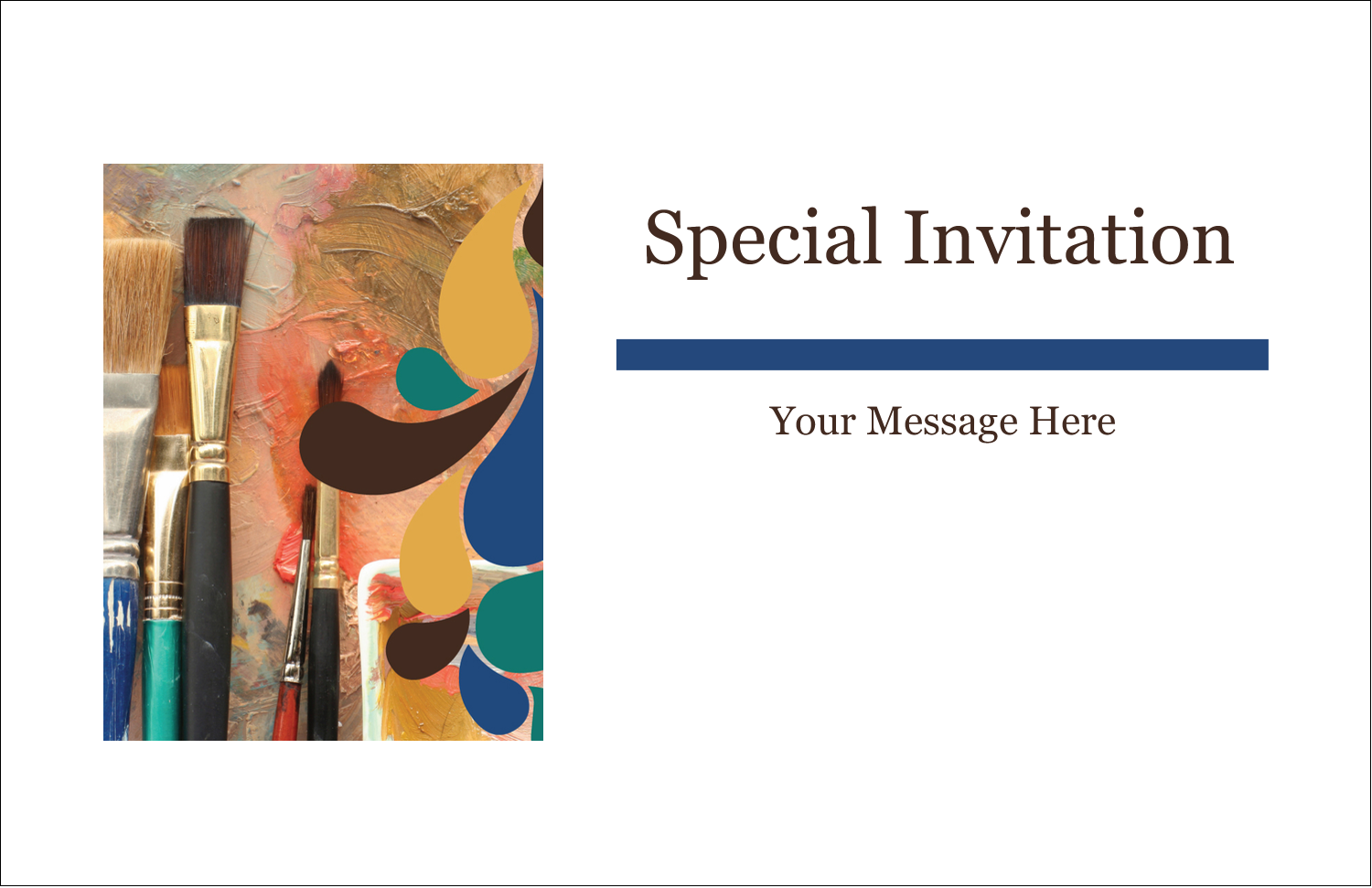 """5½"""" x 8½"""" Greeting Card - Modern Paintbrushes in Natural Tones"""