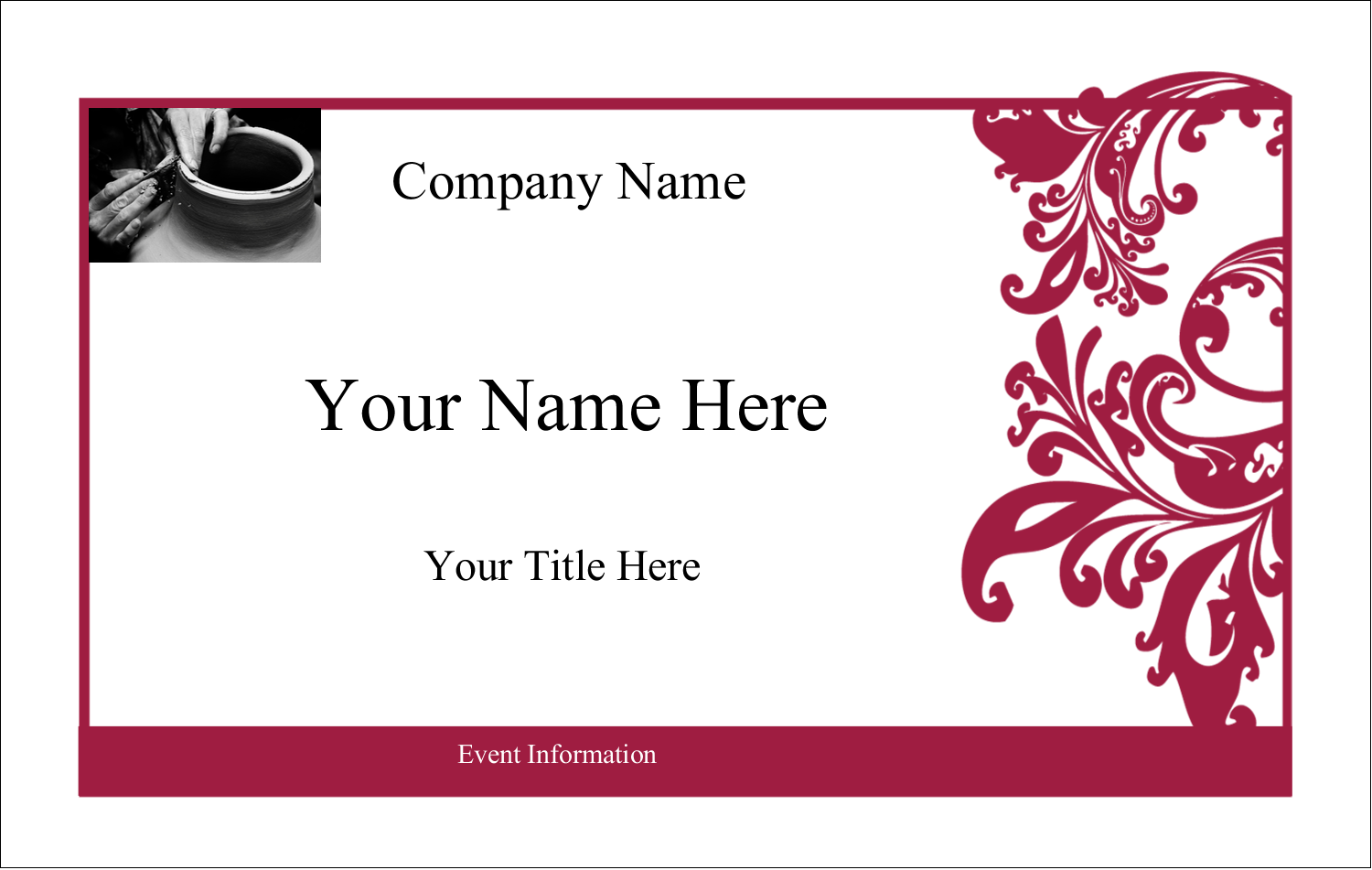 2¼ x 3½ Name Tags - Black and Red Art
