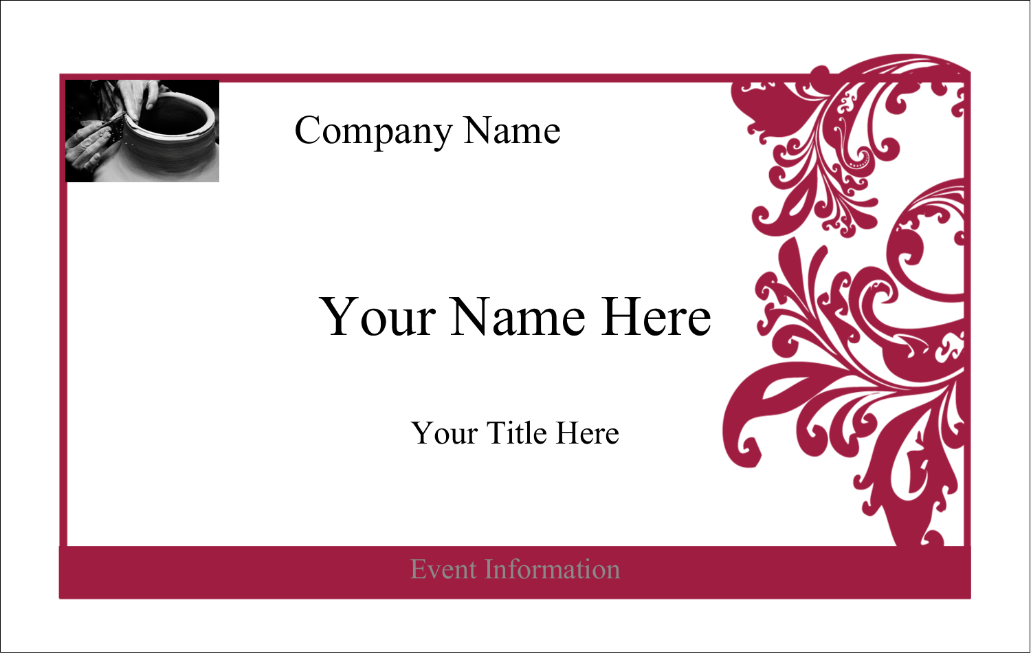 Embellish your next romantic or upscale event with this Black and Red Art template.