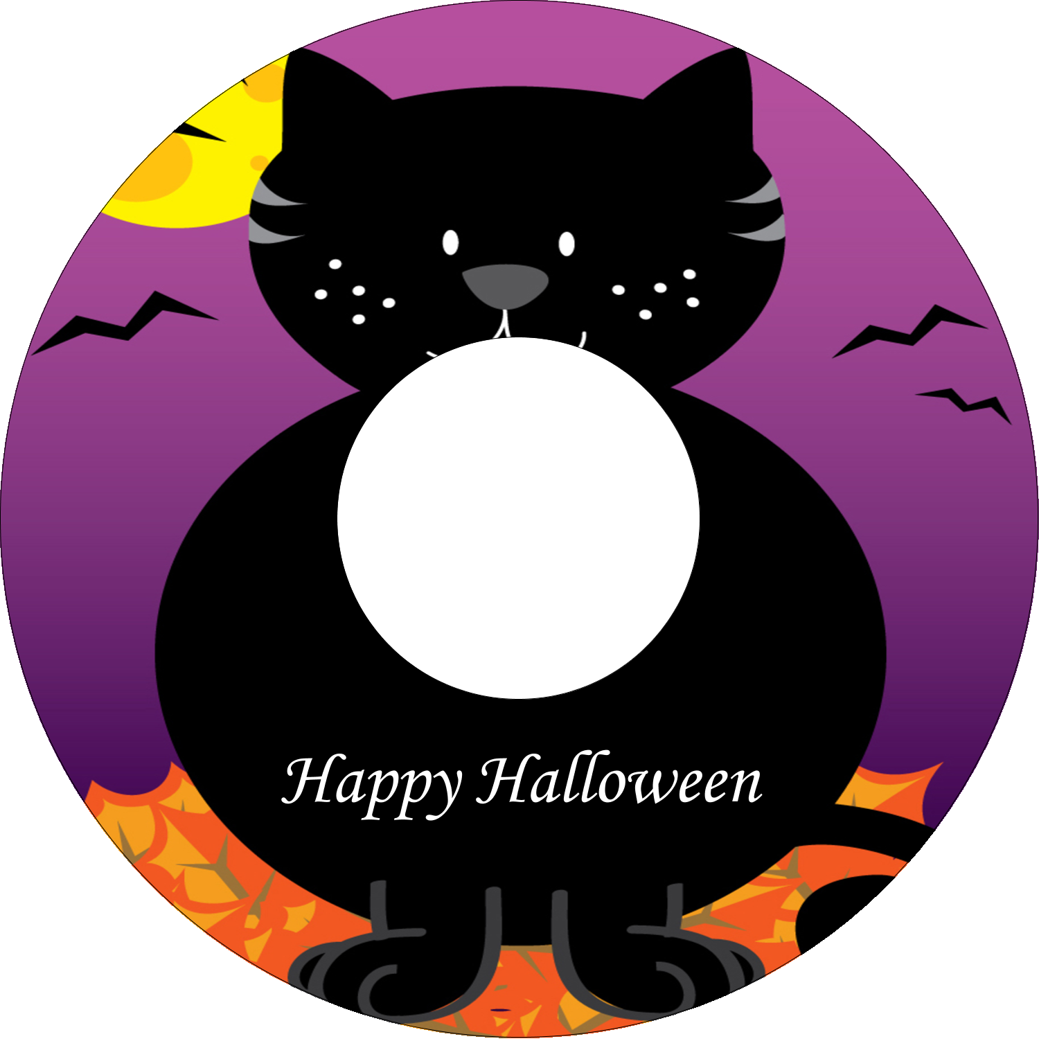 "4.65"" CD-DVD Label - Black Cat Halloween"