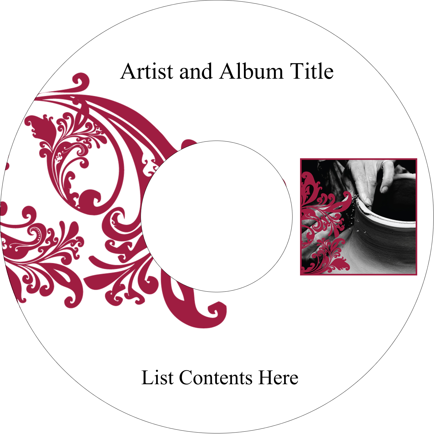 "4.65"" CD-DVD Label - Black and Red Art"
