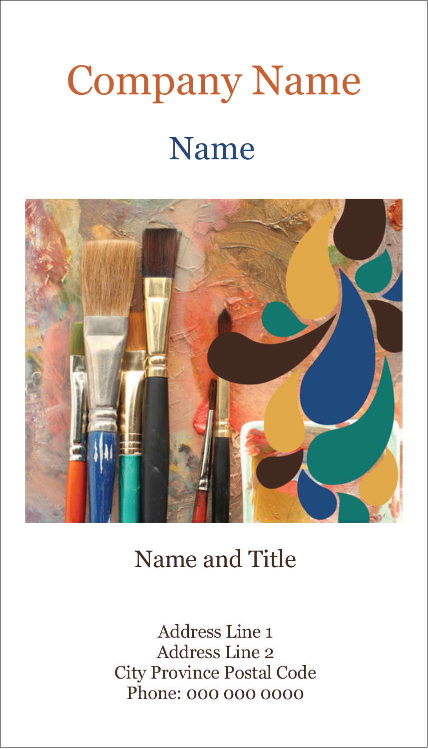 """3½"""" x 2"""" Business Card - Modern Paintbrushes in Natural Tones"""