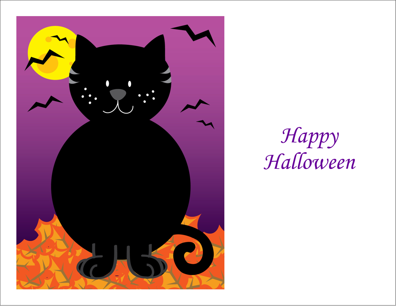 "5½"" x 4¼"" Note Card - Black Cat Halloween"