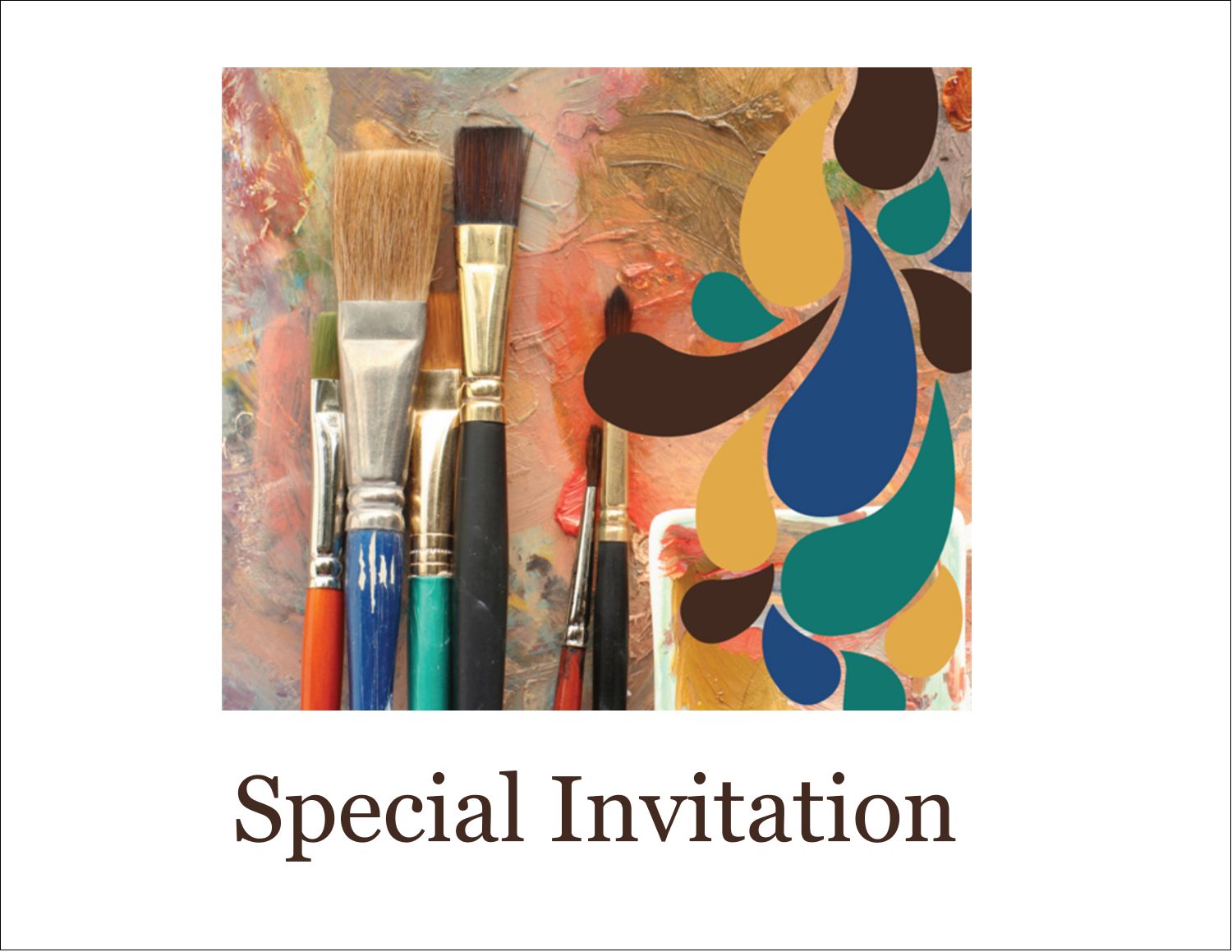 "5½"" x 4¼"" Note Card - Modern Paintbrushes in Natural Tones"