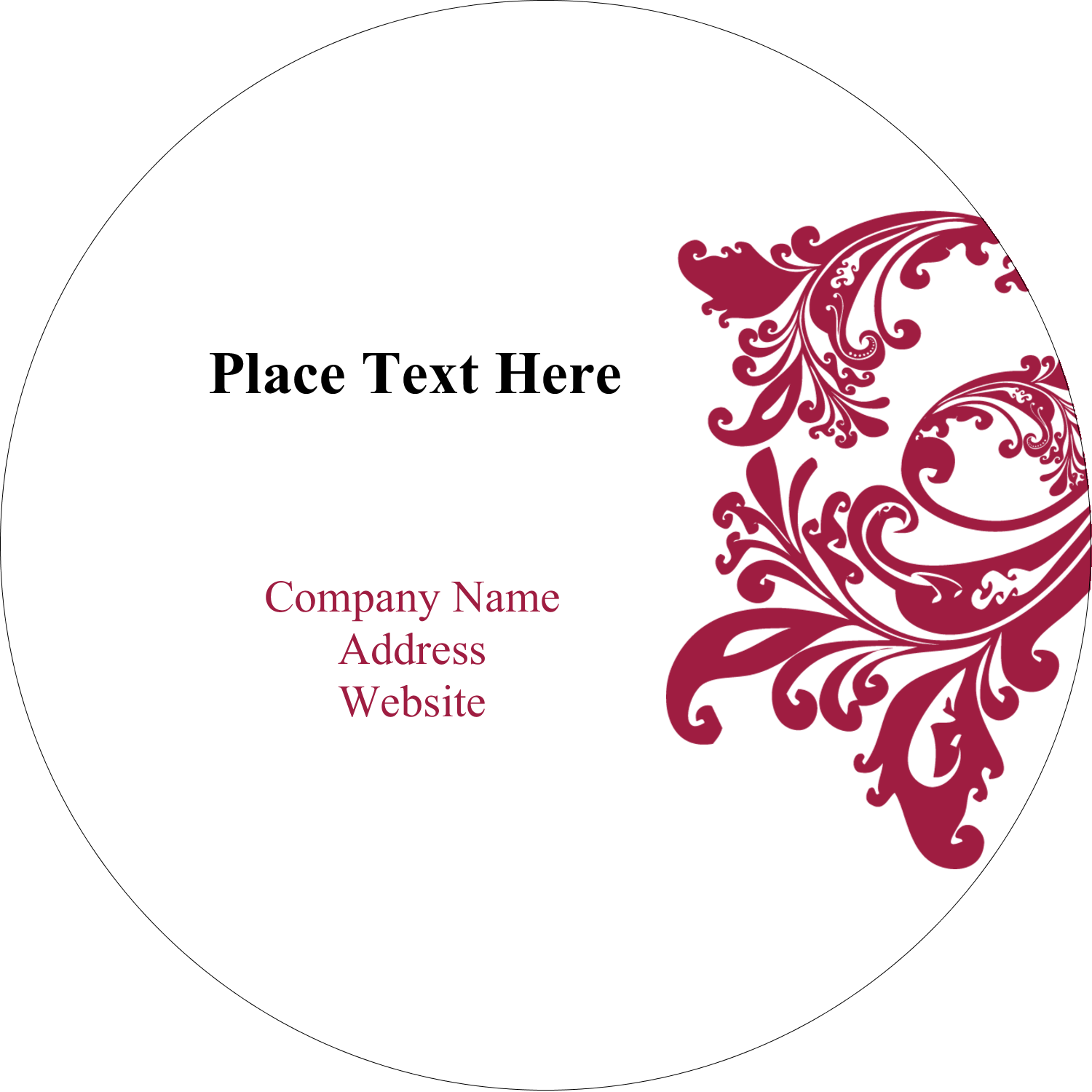 "2"" Embossed Round Label - Black and Red Art"