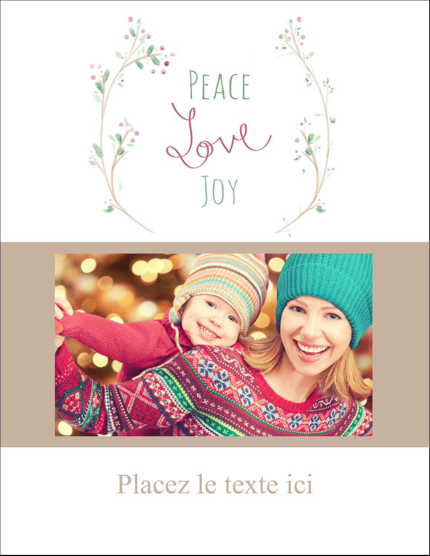 """5½"""" x 4¼"""" Carte Postale - Les gabarits Paix, amour et joie pour votre prochain projet créatif des Fêtes"""