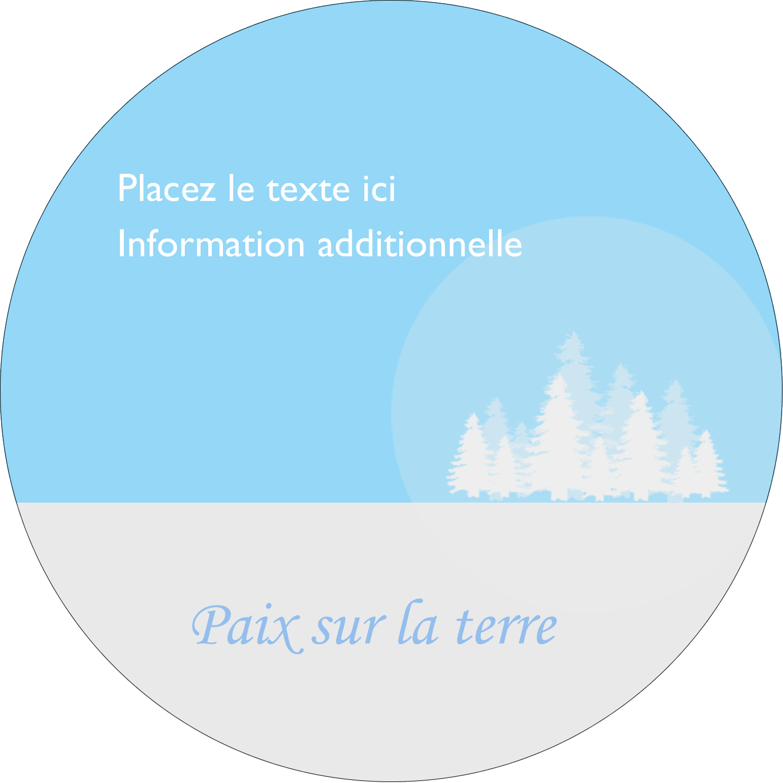 """3"""" Diameter Étiquettes rondes - Forêt bleue"""
