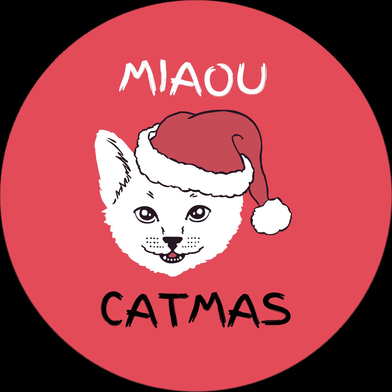 """2½"""" Diameter Étiquettes rondes - Chat de Noël"""
