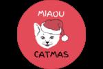 Chat de Noël Étiquettes arrondies - gabarit prédéfini. <br/>Utilisez notre logiciel Avery Design & Print Online pour personnaliser facilement la conception.