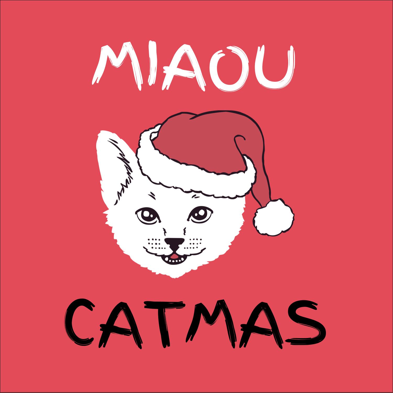 """9¾"""" x 1¼"""" Étiquettes enveloppantes - Chat de Noël"""