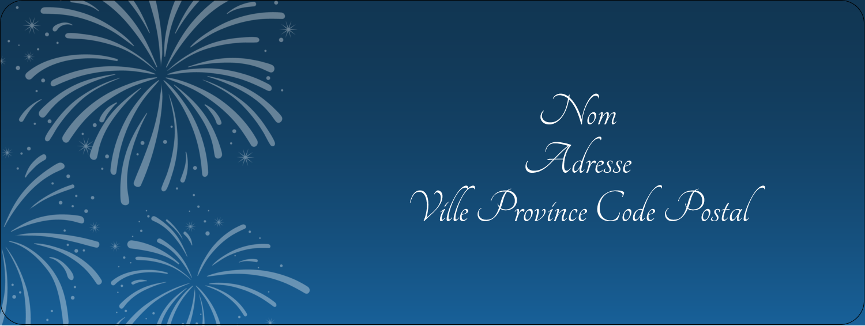 """⅔"""" x 1¾"""" Étiquettes D'Adresse - Feux d'artifice bleus du Nouvel An"""