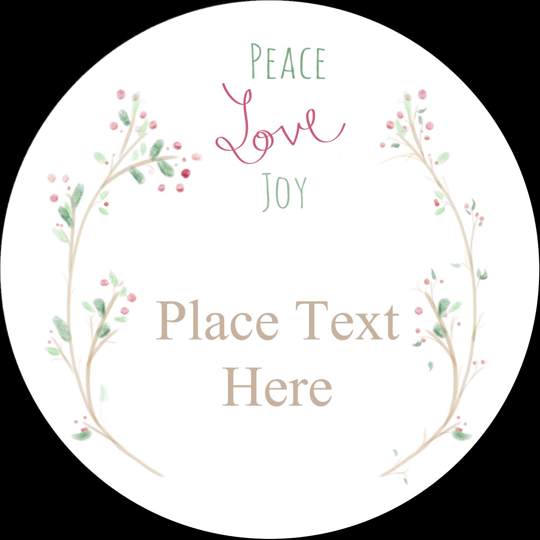 "3"" Round Label - Peace Love Joy"